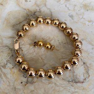 GP Sterling Silver Ball Bracelet & Earrings Set